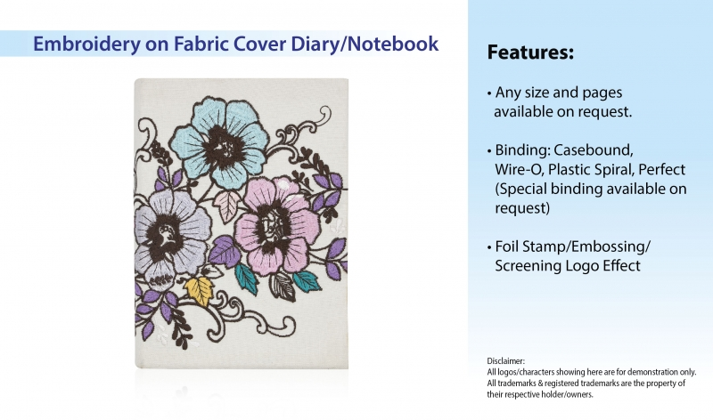 Embroidery on Fabric Cover Diary/Notebook