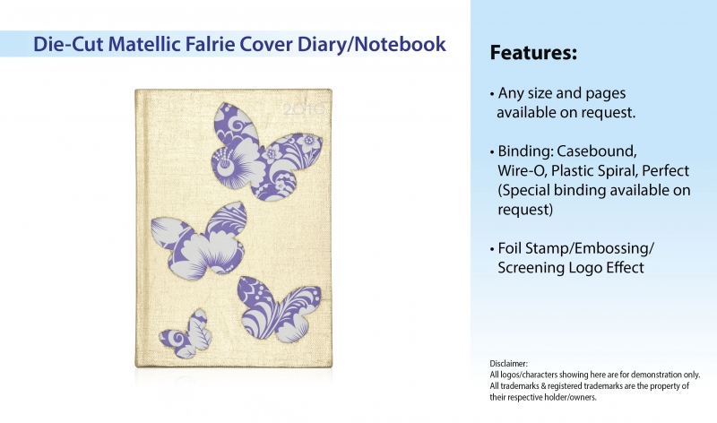 Die-Cut Matellic Fabric Cover Diary/Notebook