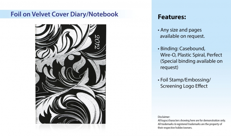 Foil on Velvet Cover Diary_Notebook