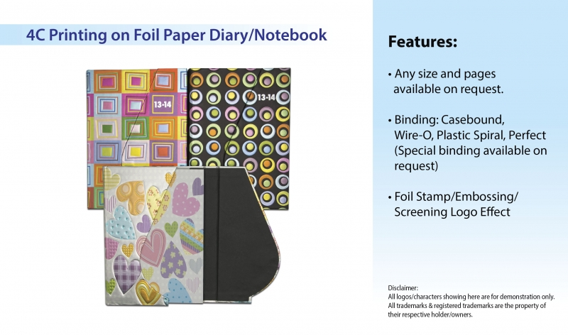4C Printing on Foil Paper Diary/Notebook