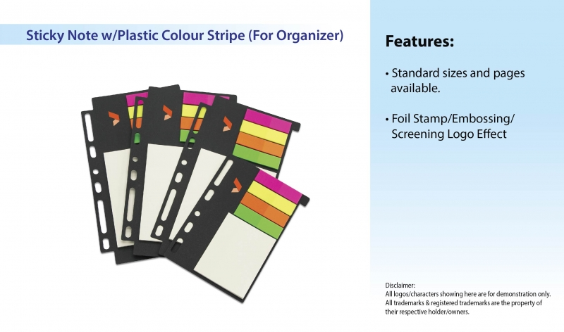 Sticky Note w/Plastic Colour Stripe (For Organizer)