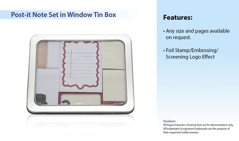 Post-it Note Set in Window Tin Box
